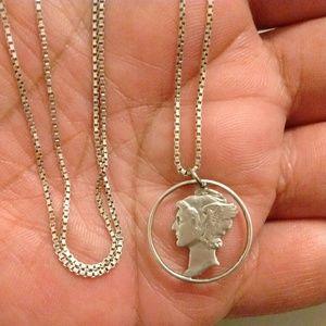 Sterling Box Chain & Silver Mercury Dime Pendant